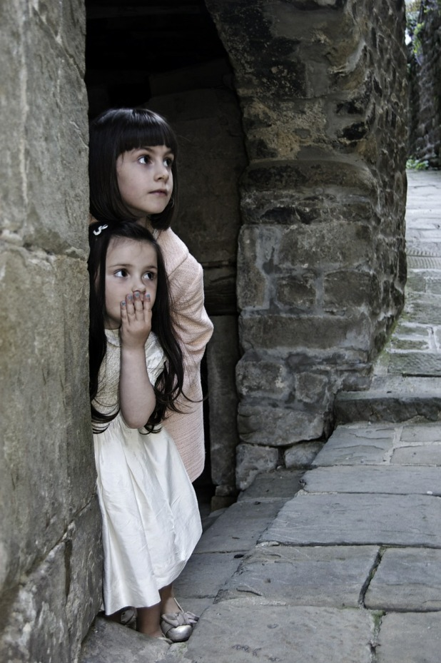 Children Hiding Kids Surprised Play Girls